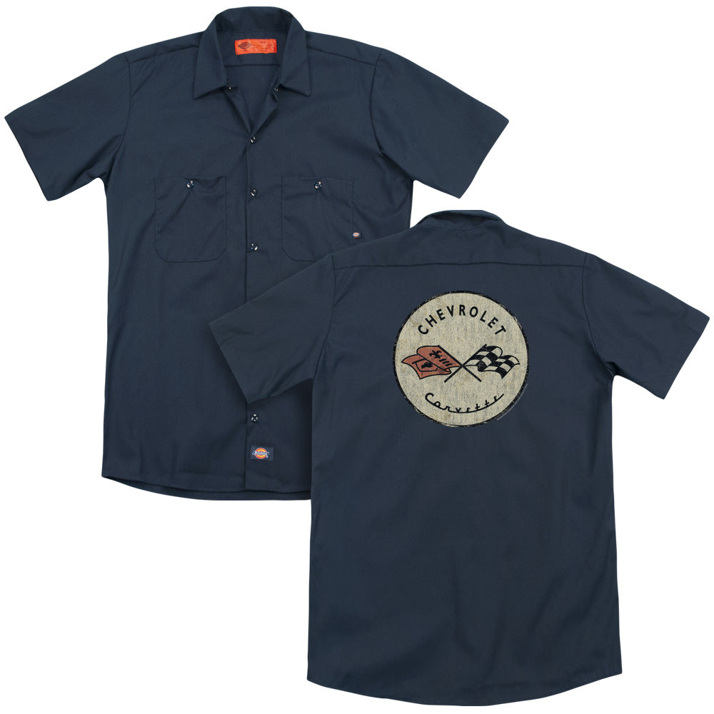Chevy - Blue And Gold Vintage Bowtie Adult Work Shirt