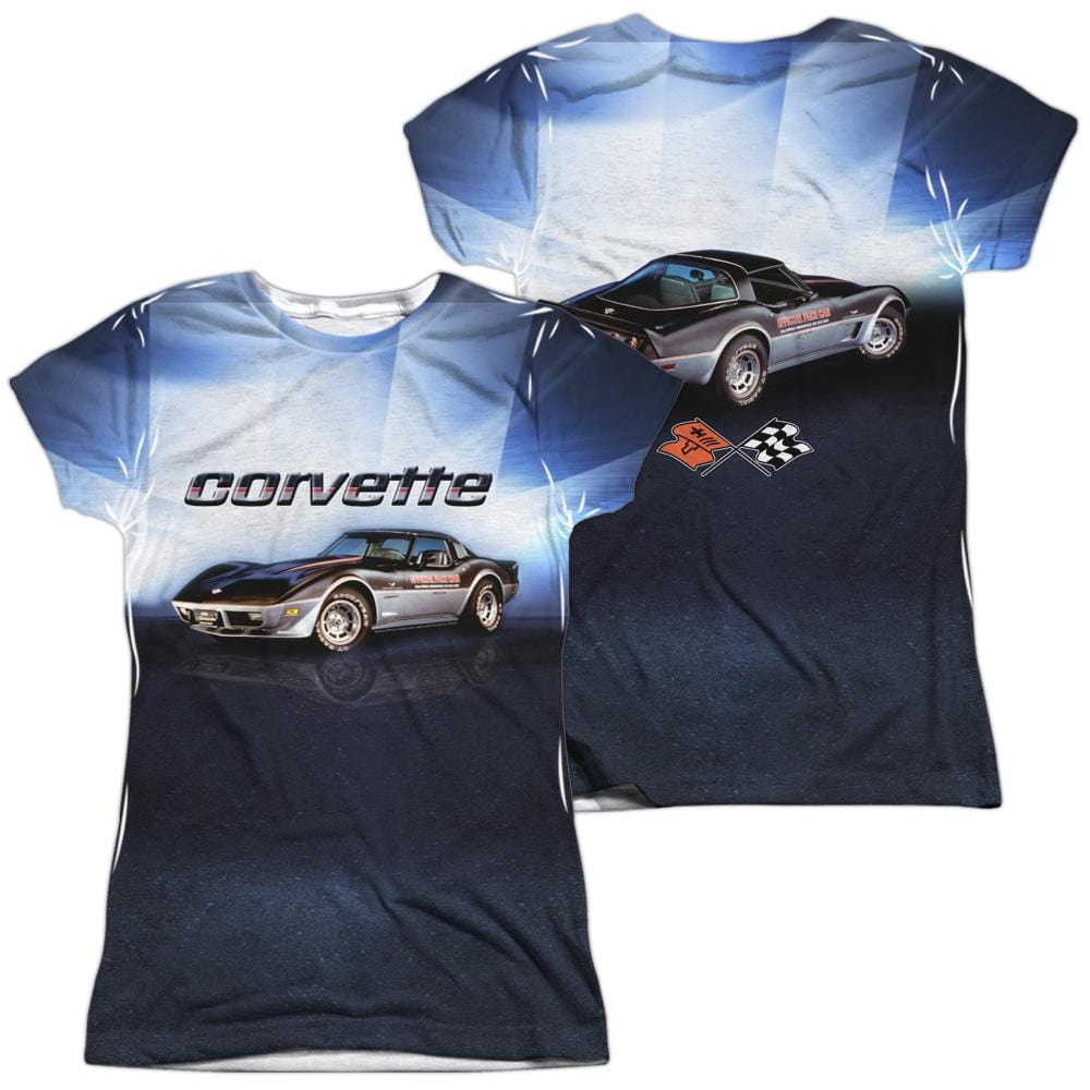 Chevrolet - Blue Vette Check Flag Junior All Over Print 100% Poly T-Shirt