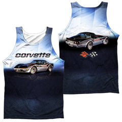 Chevy - Blue Vette Check Flag Adult Tank Top