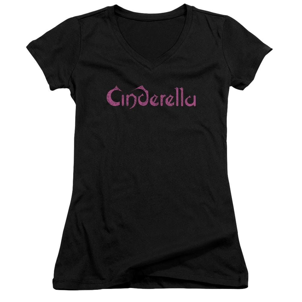 Cinderella Logo Rough Junior V-Neck T-Shirt