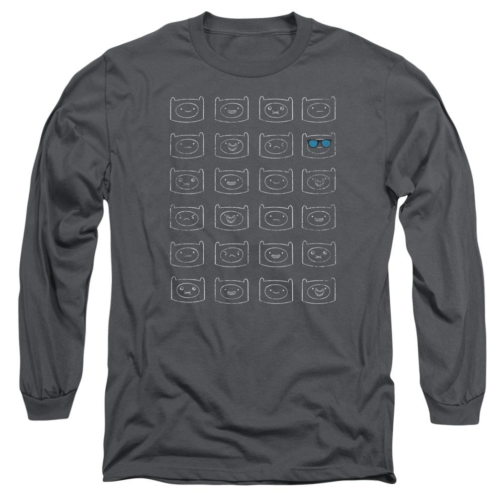 Adventure Time - Finn Faces Adult Long Sleeve T-Shirt