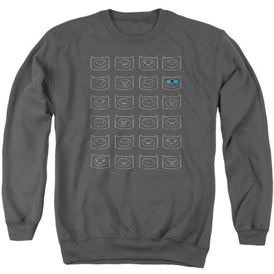 Adventure Time Finn Faces Men's Crewneck Sweatshirt