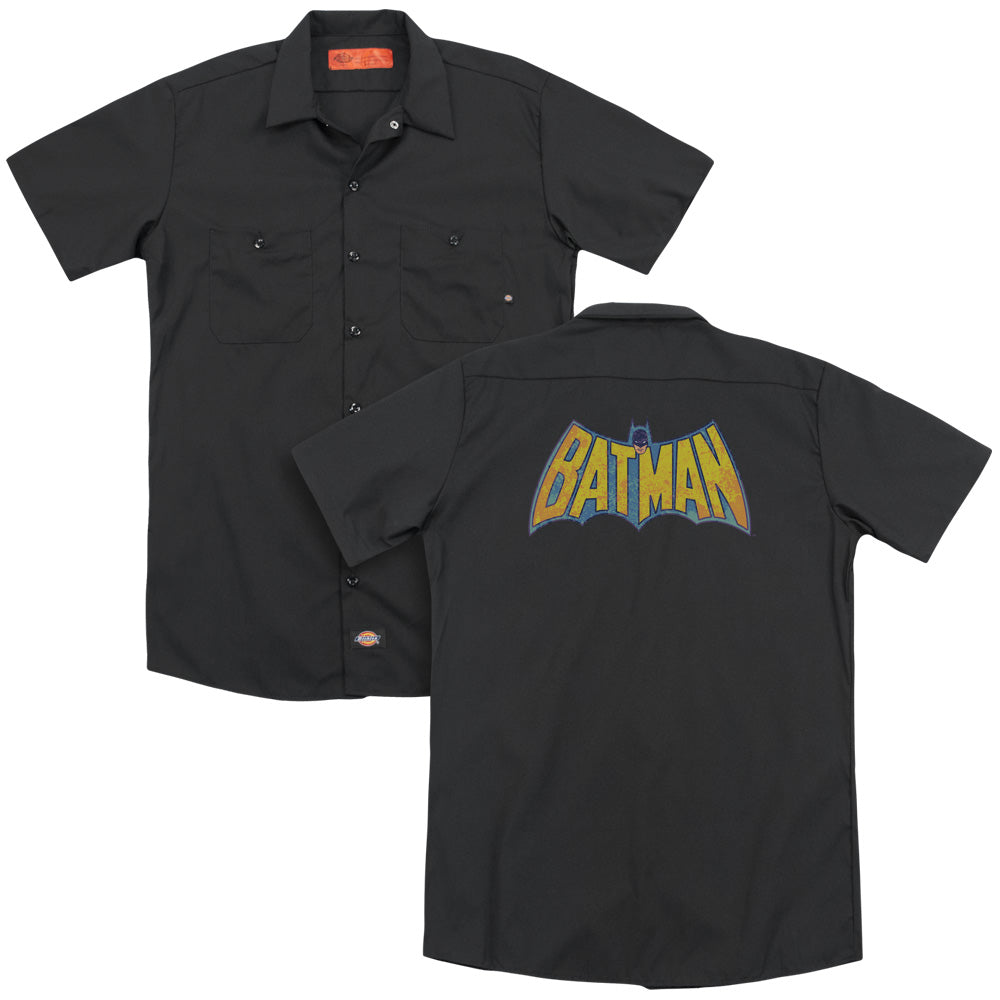 Dco Batman Neon Distress Logo Adult Work Shirt