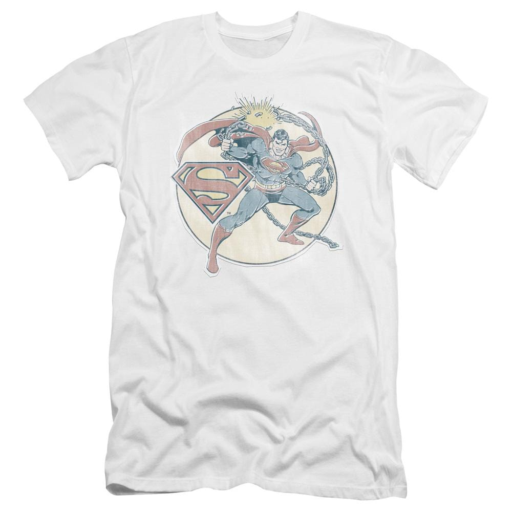 Dco Retro Superman Iron On Premium Adult Slim Fit T-Shirt