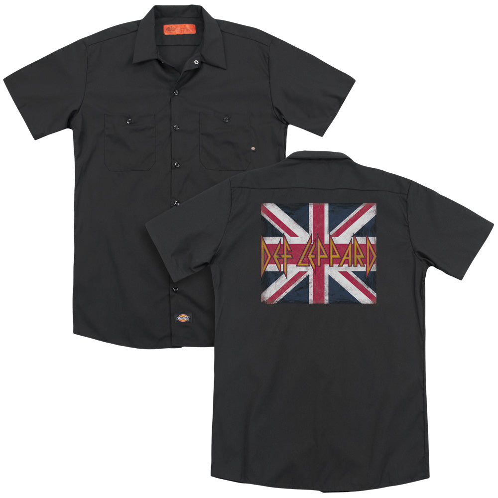 Def Leppard Union Jack Adult Work Shirt