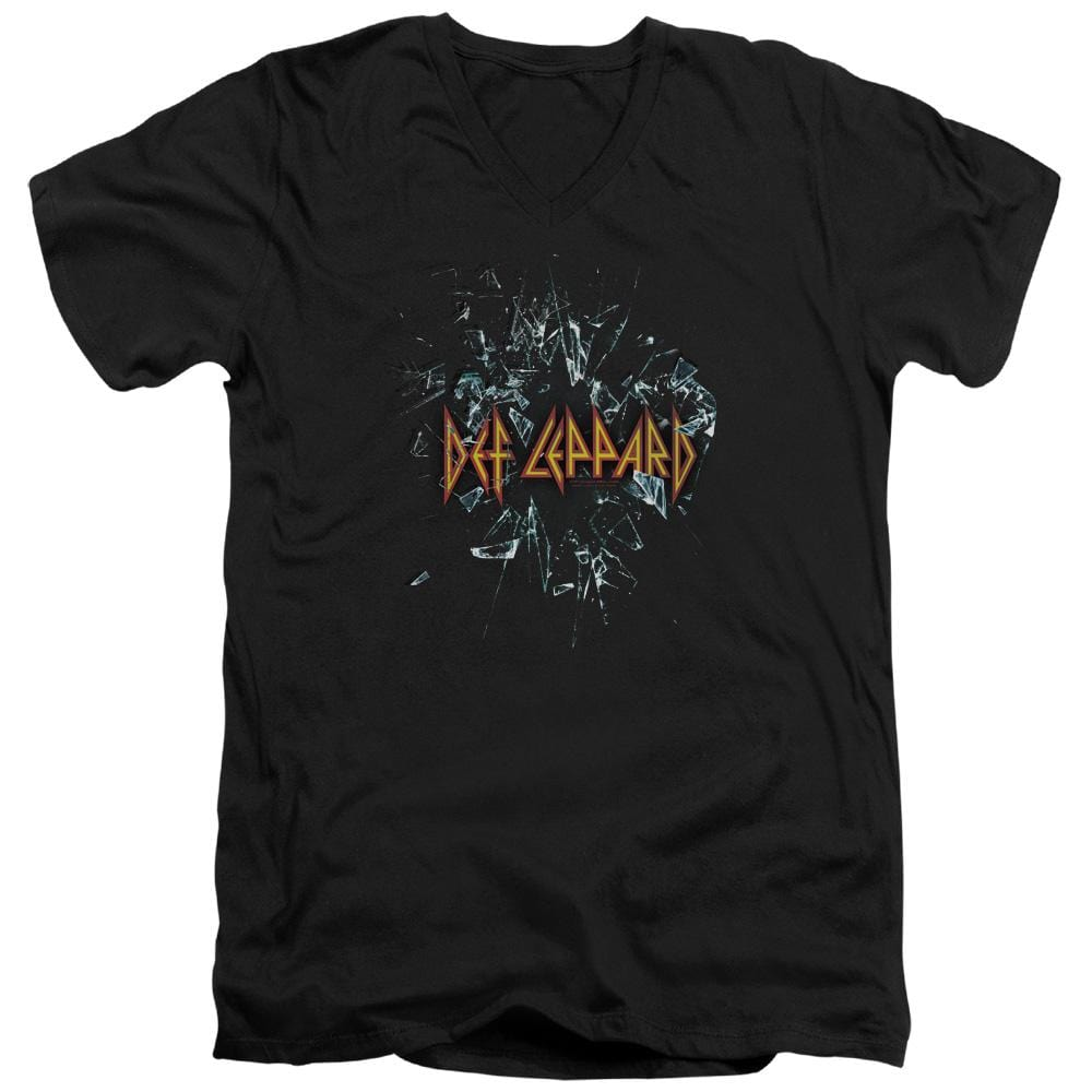 Def Leppard Broken Glass Adult V-Neck T-Shirt
