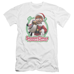 Santa Claus Is Comin To Town Penguin Premium Adult Slim Fit T-Shirt