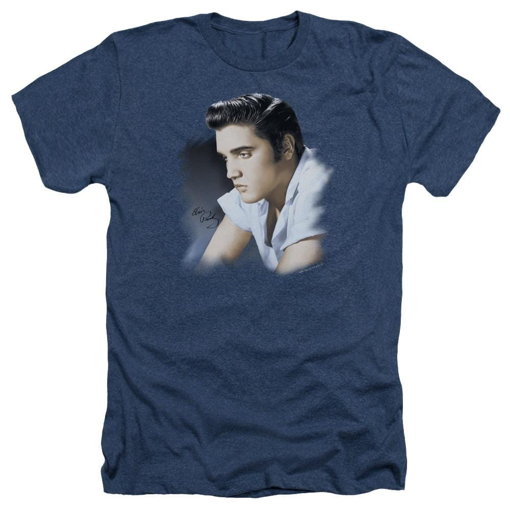 Elvis Blue Profile Adult Regular Fit Heather T-Shirt