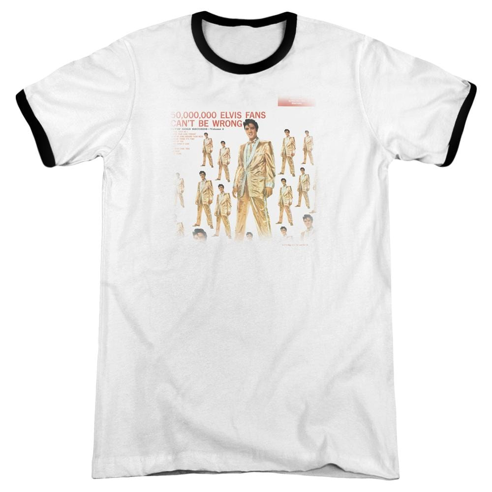 Elvis - 50 Million Fans Adult Ringer T- Shirt