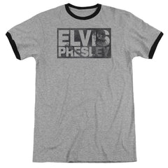 Elvis - Block Letters Adult Ringer T- Shirt