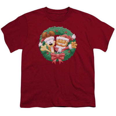 Garfield Christmas Wreath Youth T-Shirt (Ages 8-12)