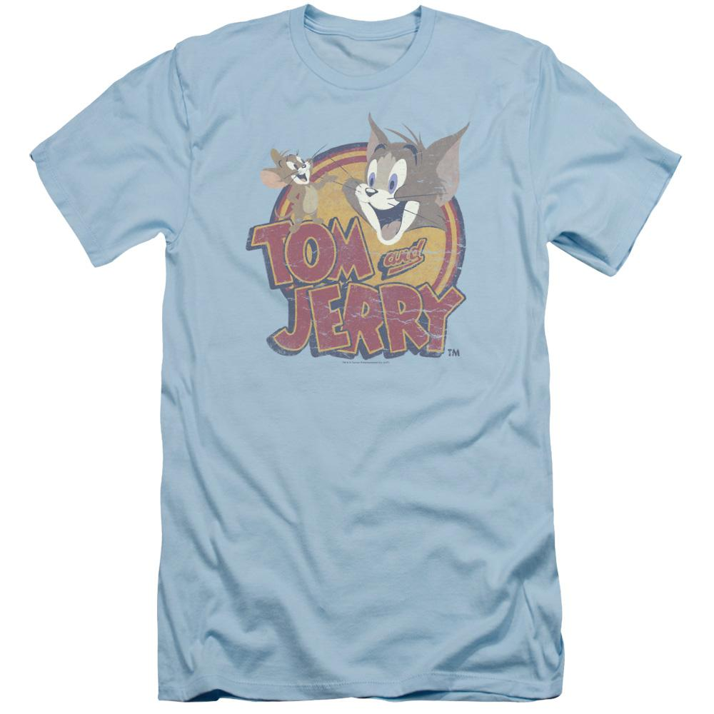 Tom And Jerry Water Damaged Adult Slim Fit T-Shirt