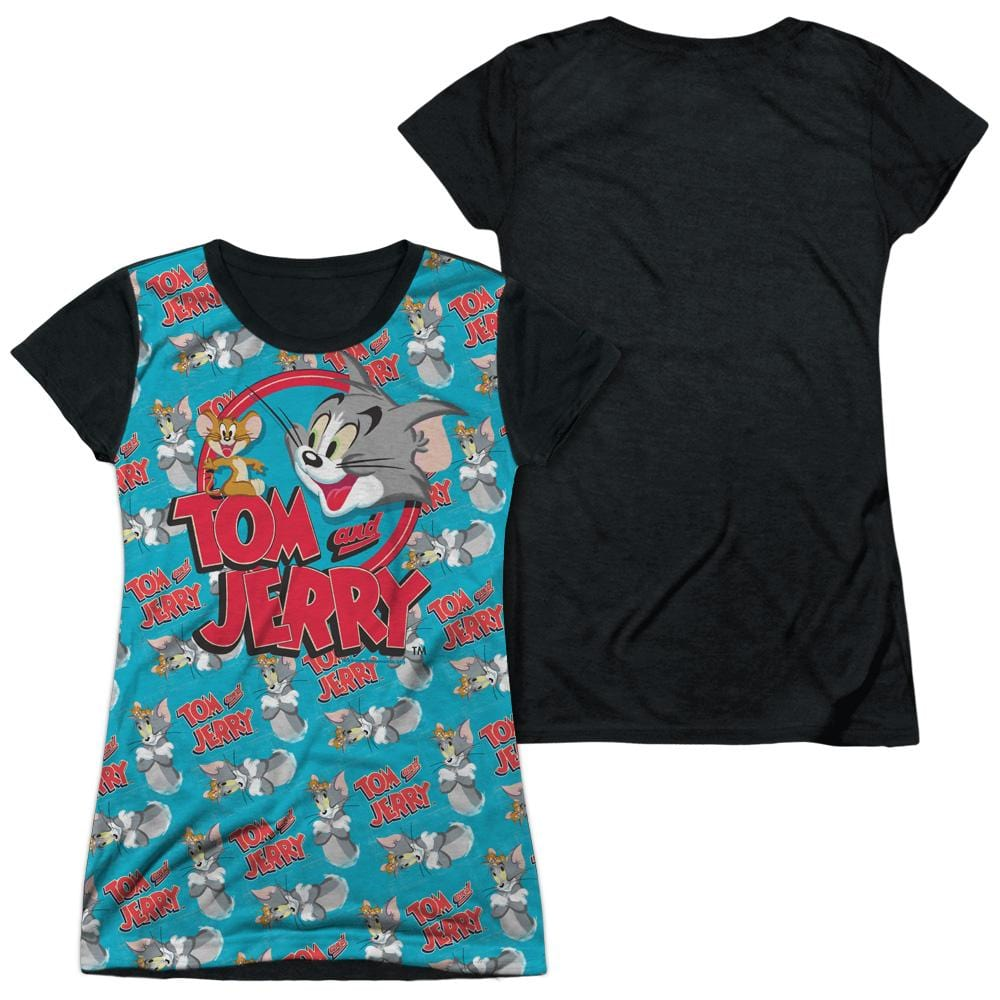 Tom And Jerry Double Trouble Junior Black Back 100% Poly T-Shirt