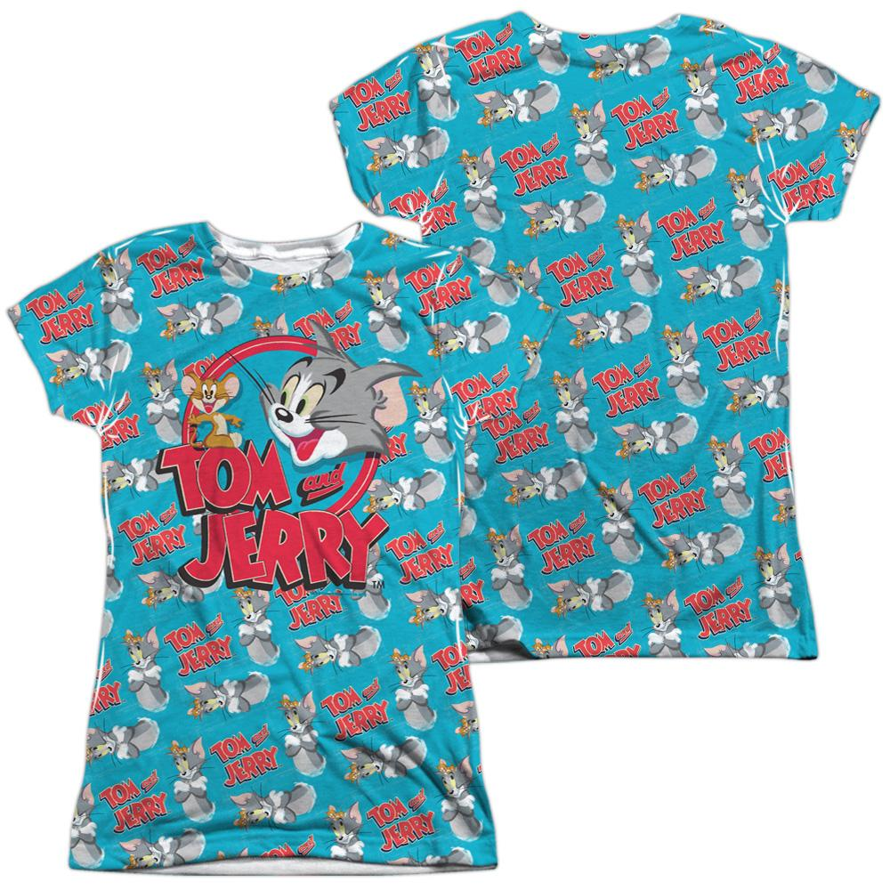 Tom And Jerry Double Trouble Junior All Over Print 100% Poly T-Shirt