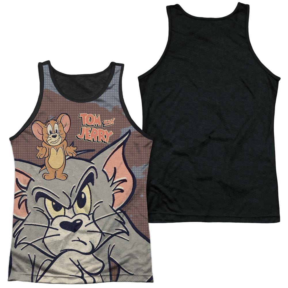 Tom And Jerry Up To No Good Adult Black Back Tank top
