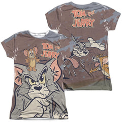 Tom And Jerry Up To No Good Junior All Over Print 100% Poly T-Shirt