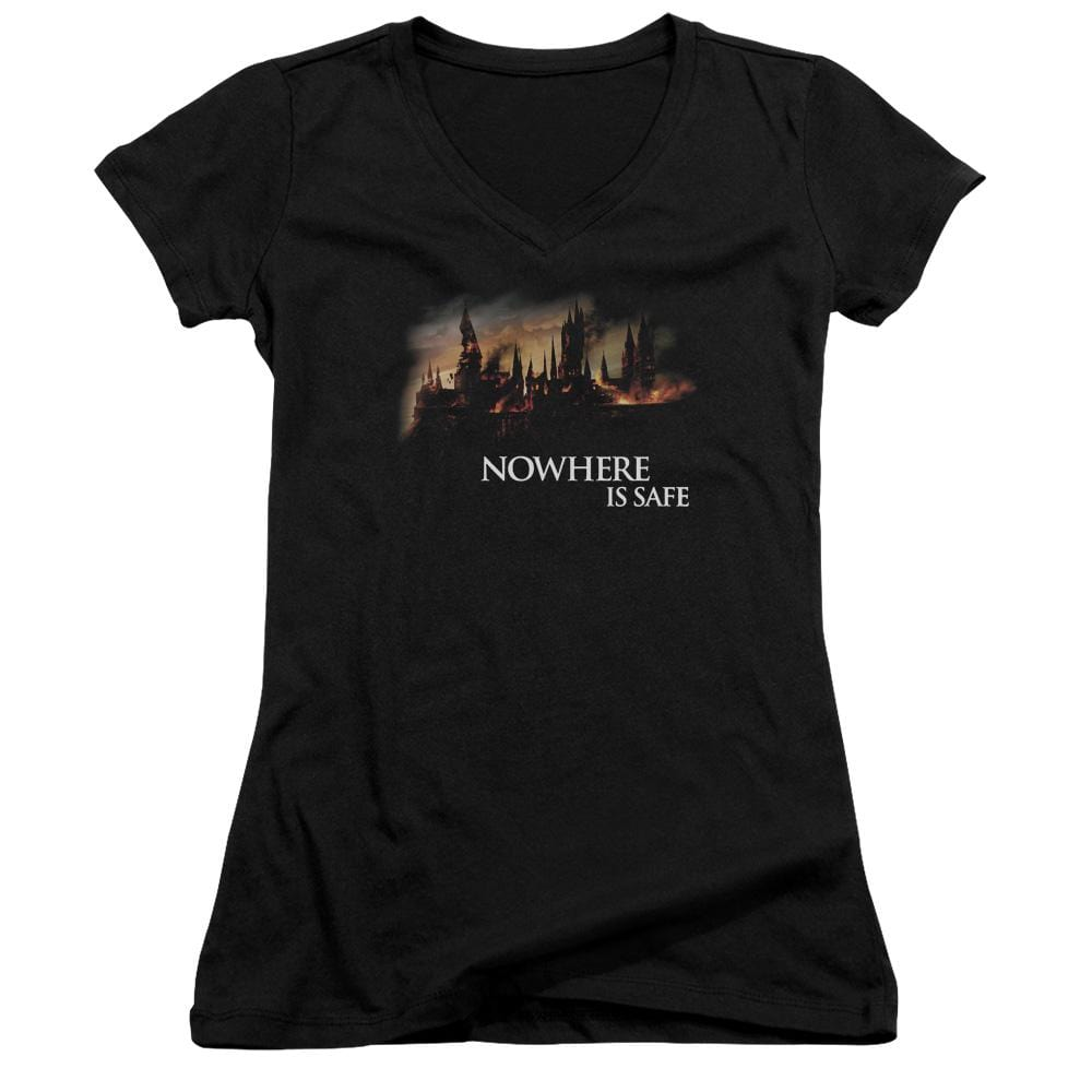 Harry Potter - Burning Hogwarts Junior V-Neck T-Shirt
