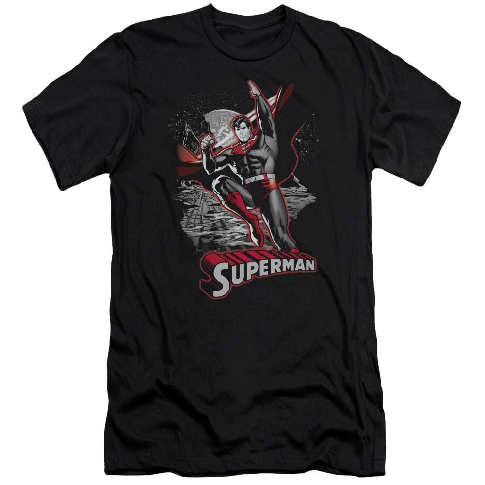 Justice League - Superman Red & Gray Premium Adult Slim Fit T-Shirt