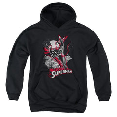 Jla Superman Red & Gray Youth Pull-Over Hoodie