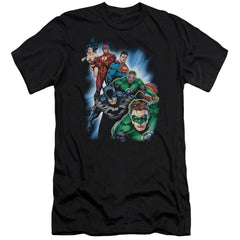 Jla Heroes Unite Premium Adult Slim Fit T-Shirt