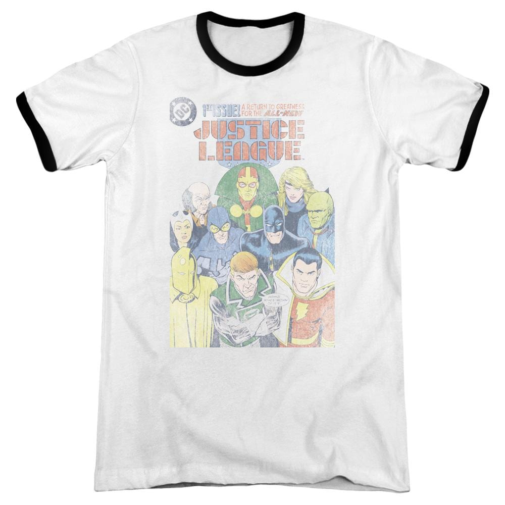 Jla - Justice League #1 Cover Adult Ringer T- Shirt