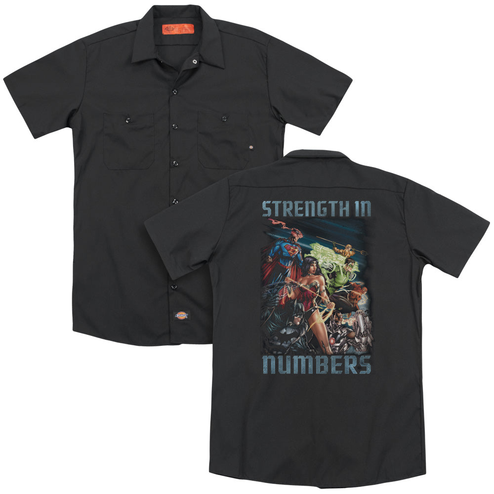 Jla Strength In Number Adult Work Shirt