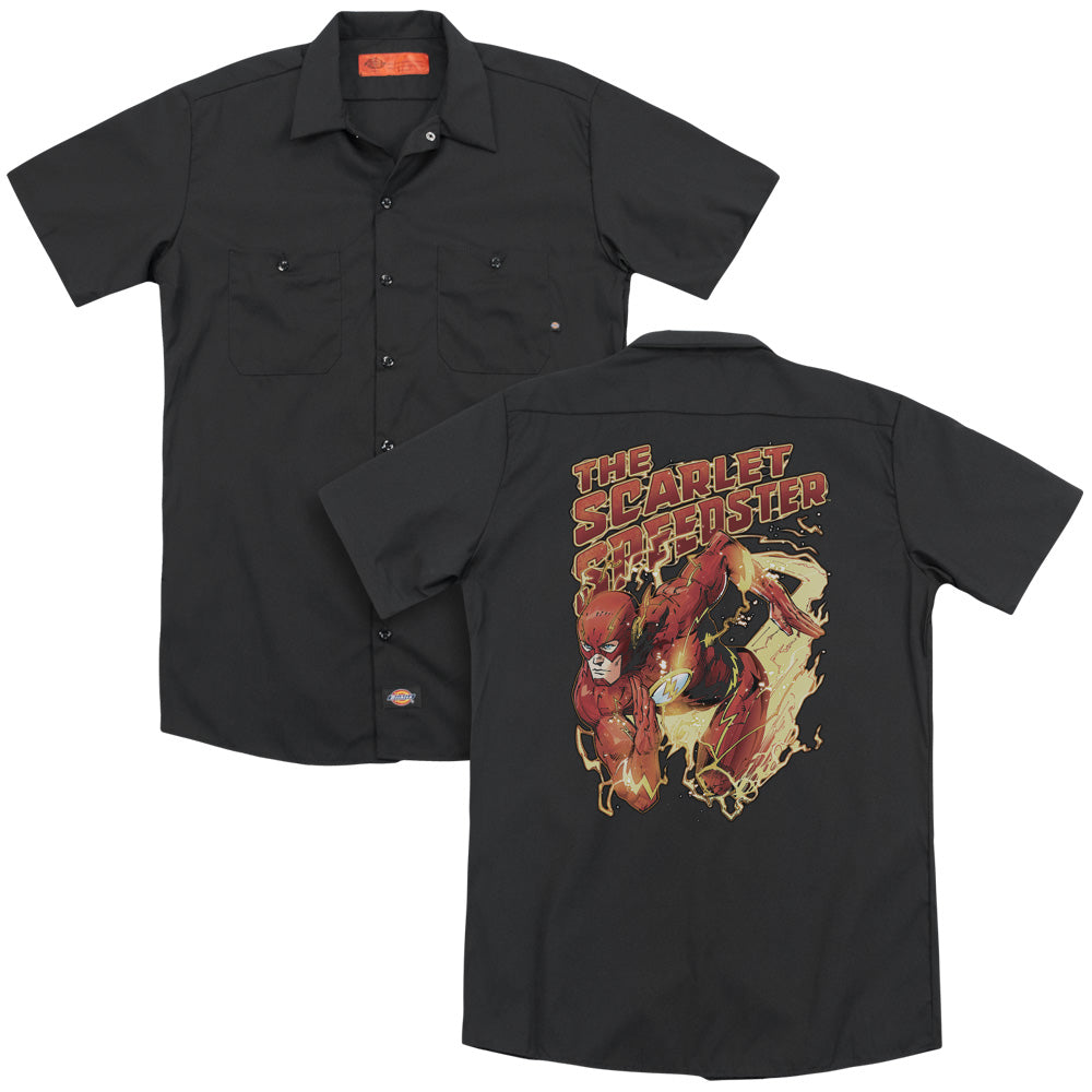 Jla Scarlet Speedster Adult Work Shirt
