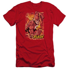 Jla Flash Lightning Premium Adult Slim Fit T-Shirt