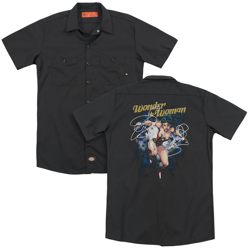 Justice League - Starburst Adult Work Shirt