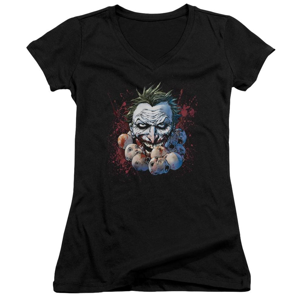 Jla Doll Heads Junior V-Neck T-Shirt