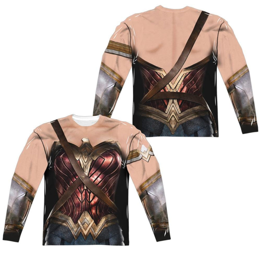 Justice League Wonder Woman Uniform Men'sAll-Over Print Long Sleeve T-Shirt