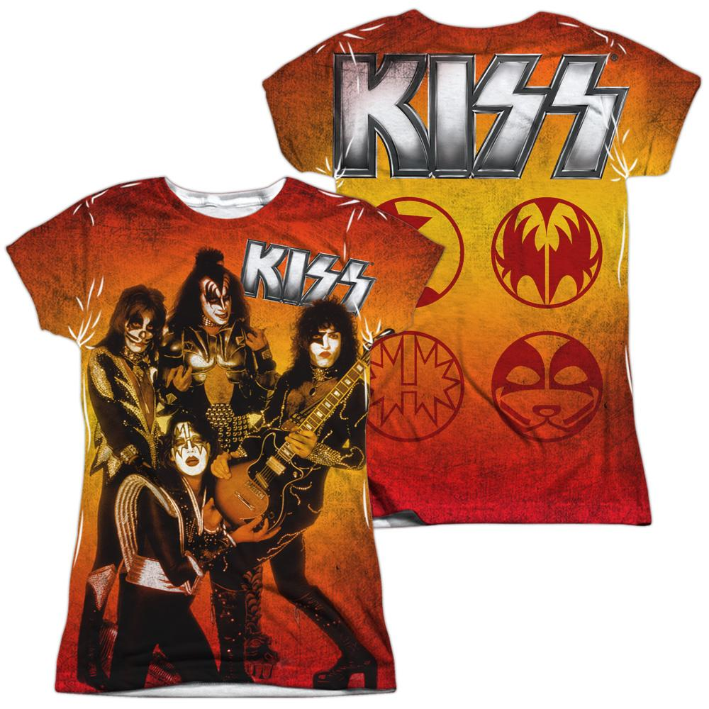 Kiss - Fire Pose Junior All Over Print 100% Poly T-Shirt