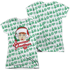 Lucy - Holiday Pattern Junior All Over Print 100% Poly T-Shirt