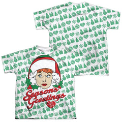 Lucy - Holiday Pattern Youth All Over Print 100% Poly T-Shirt