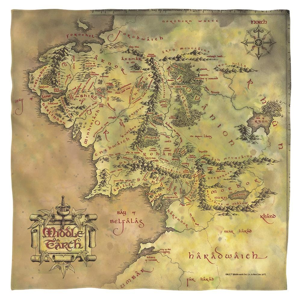 Lord Of The Rings Middle Earth Map Bandana