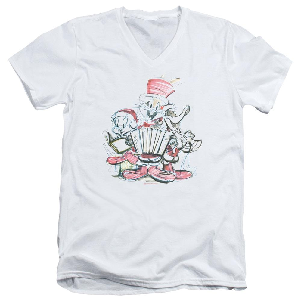 Looney Tunes Holiday Sketch Adult V Neck T-Shirt