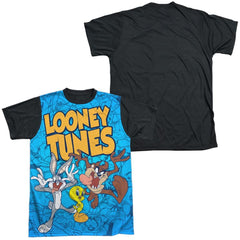 Looney Tunes Collage Of Characters Adult Black Back 100% Poly T-Shirt
