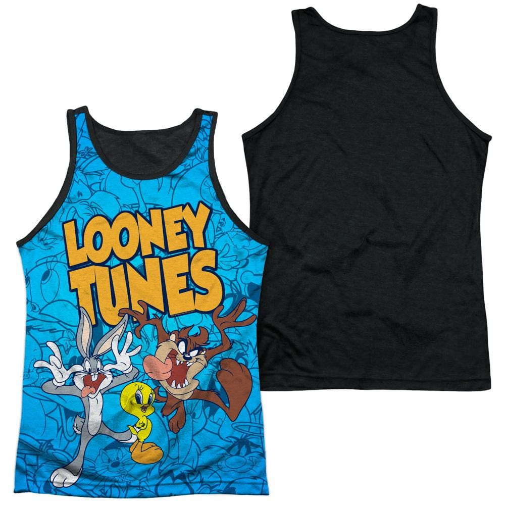 Looney Tunes Collage Of Characters Adult Black Back Tank top