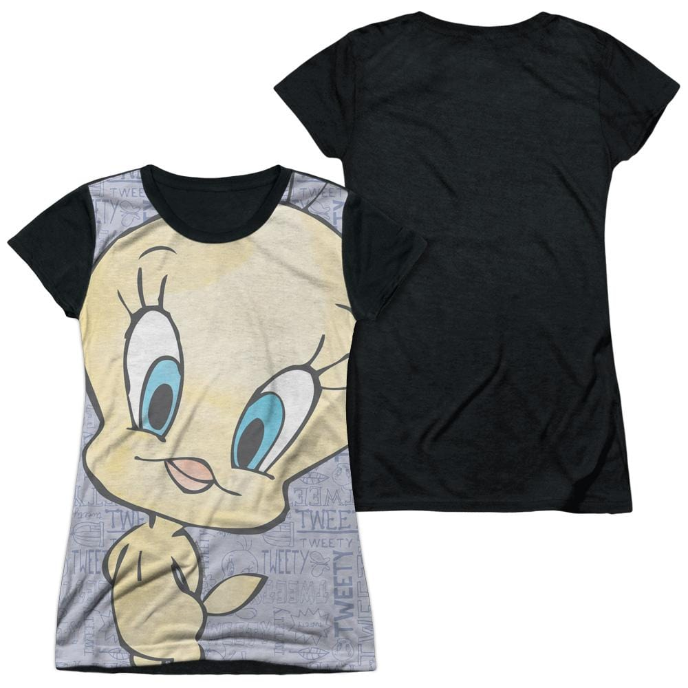 Looney Tunes Tweety Girl Junior Black Back 100% Poly T-Shirt
