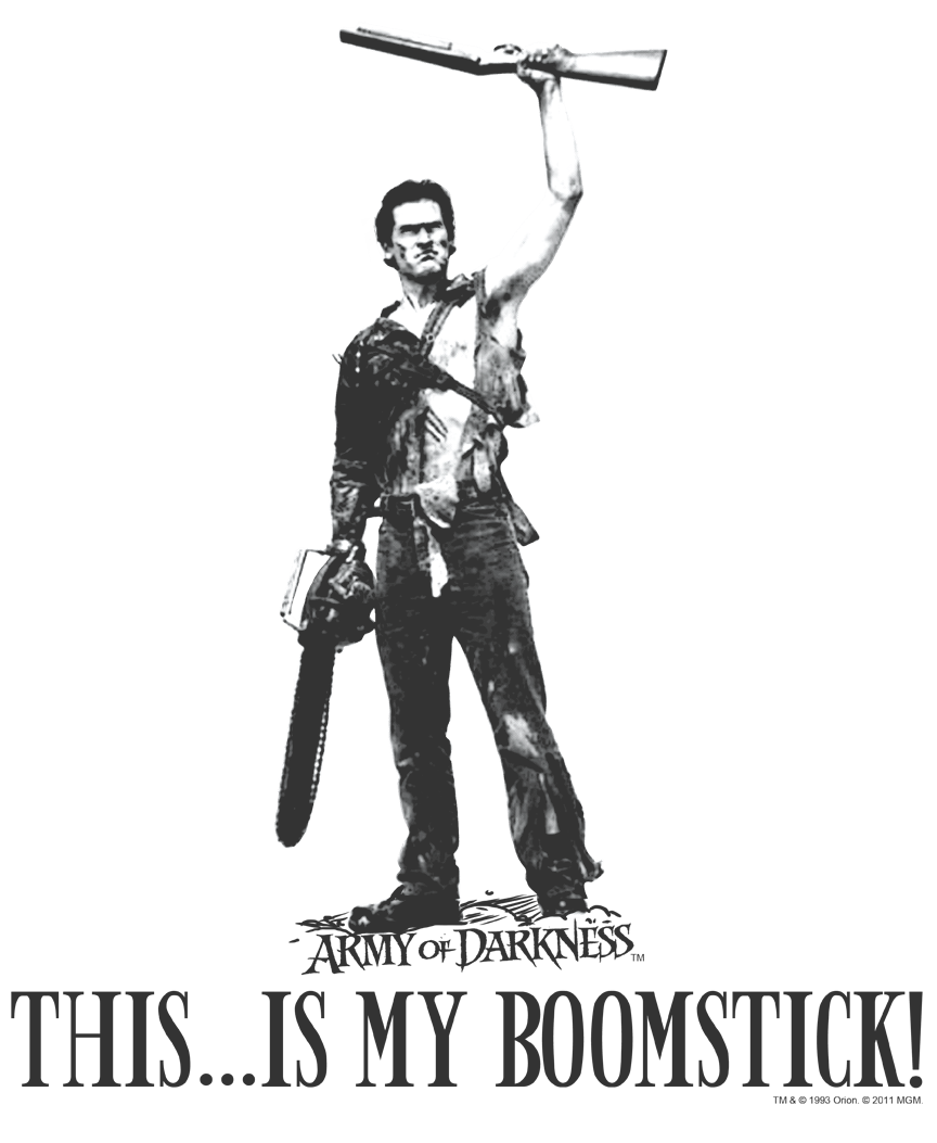 ARMY OF DARKNESS Movie BLOODY POSTER Juniors V-Neck Tee Shirt