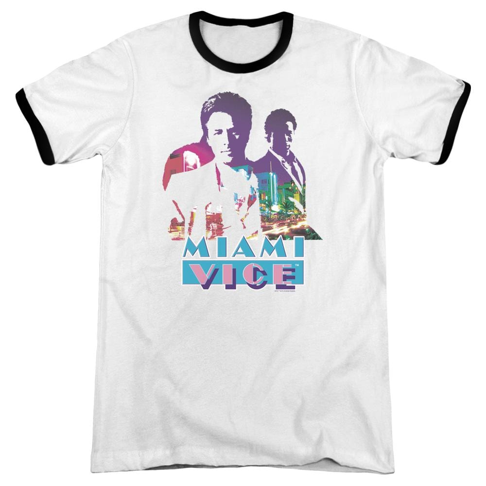 Miami Vice - Crockett And Tubbs Adult Ringer T- Shirt