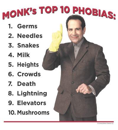 Monk Top 10 Phobias Juniors V-Neck T-Shirt