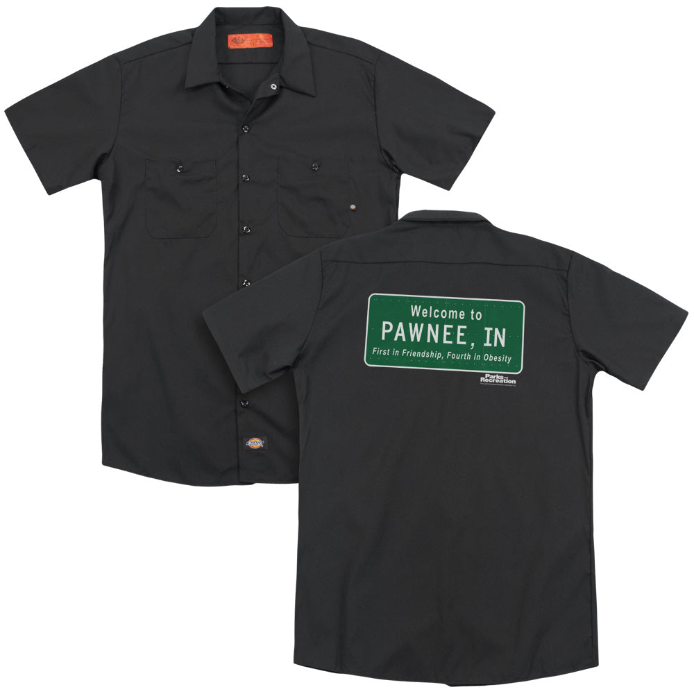 Parks And Rec Pawnee Sign Adult Work Shirt
