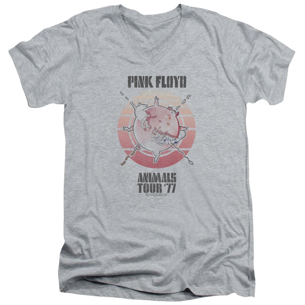 Pink Floyd Animals Tour 77 Adult V-Neck T-Shirt