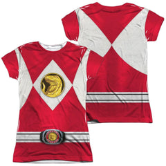 Power Rangers - Red Ranger Emblem Junior All Over Print 100% Poly T-Shirt