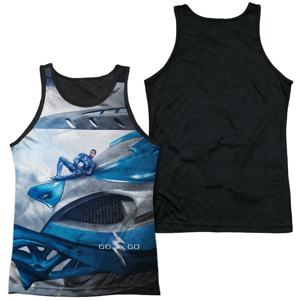 Power Rangers Blue Zord Poster Adult Black Back Tank top