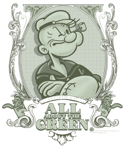 Popeye All About The Green Men's Heather T-Shirt