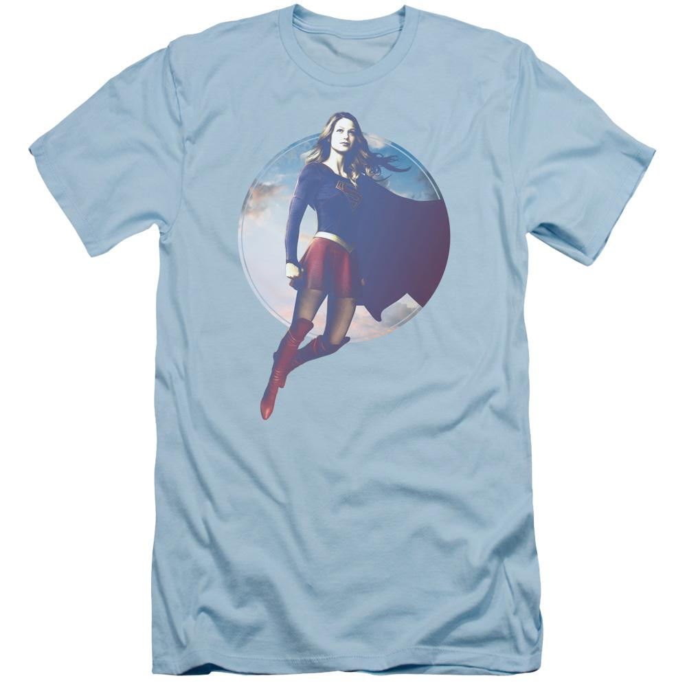 Supergirl Cloudy Circle Adult Slim Fit T-Shirt