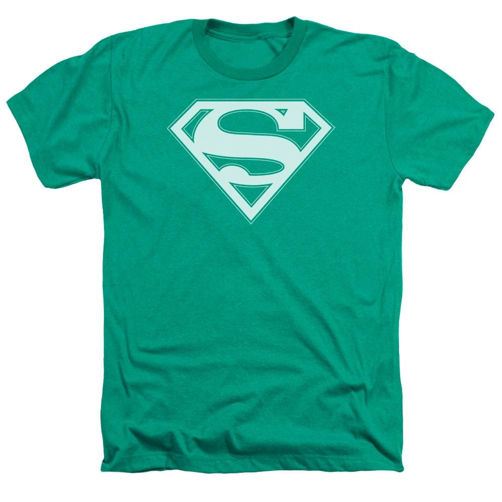 Superman Green & White Shield Adult Regular Fit Heather T-Shirt