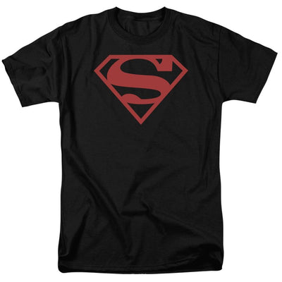 Superman Red On Black Shield Men's Regular Fit T-Shirt